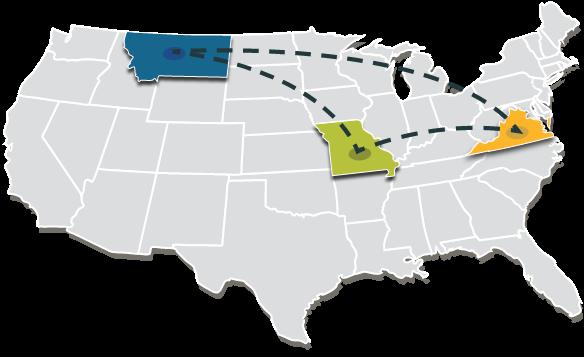 U.S. map linking Missouri, Montana, and Virginia
